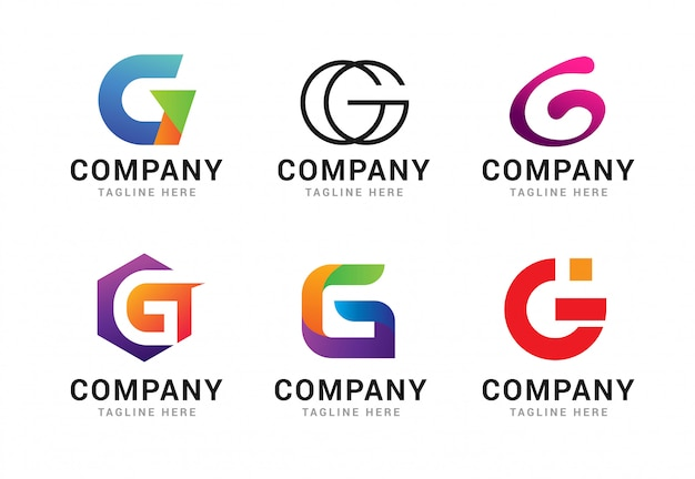 Set of letter g logo icons template elements