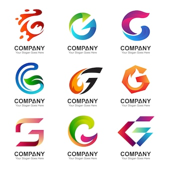 Set of letter g logo template