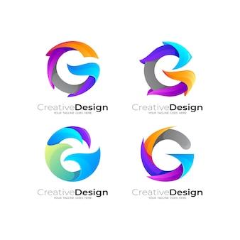 カラフルなデザインの文字gロゴを設定します