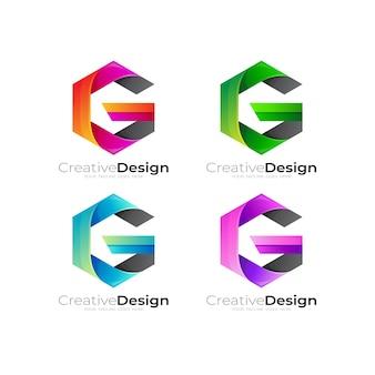 六角形のデザインベクトルで文字gロゴを設定します。