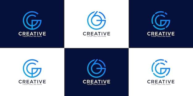Set of letter g round simple logo design inspiration