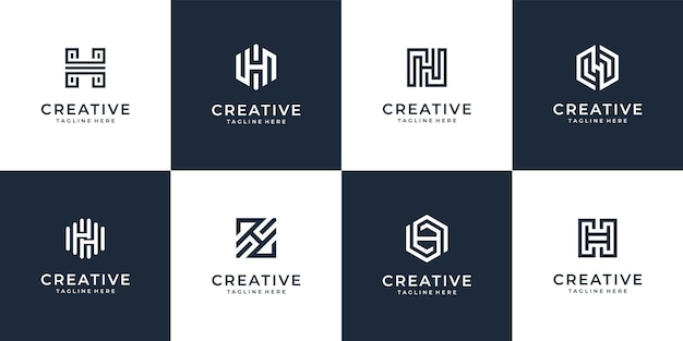 Set of letter h logo design   collection with creative concept.