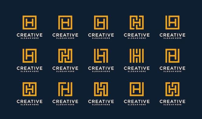 Set di lettera h logo in stile quadrato