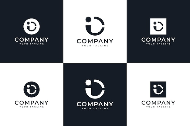 Set of letter ic logo creative design for all uses