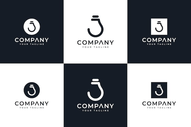 Set of letter j lamp logo creative design for all uses