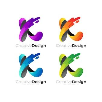 カラフルでスウッシュ、ベクトル画像の文字kのロゴを設定します。