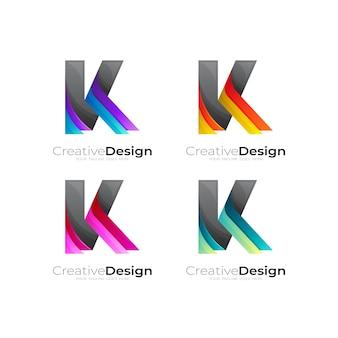 文字kのロゴをカラフルでモダンなベクトル画像に設定します