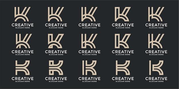 Set of letter k monogram logo design template