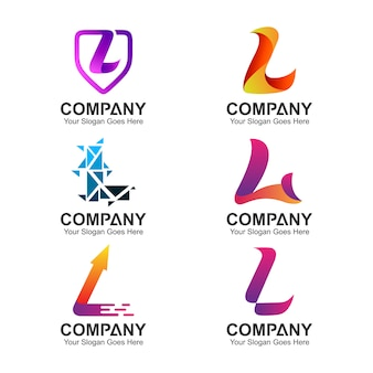 Set of letter l logo design