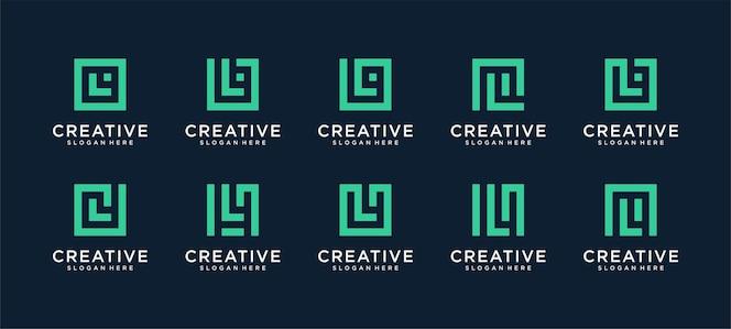 Set di lettera l logo in stile quadrato