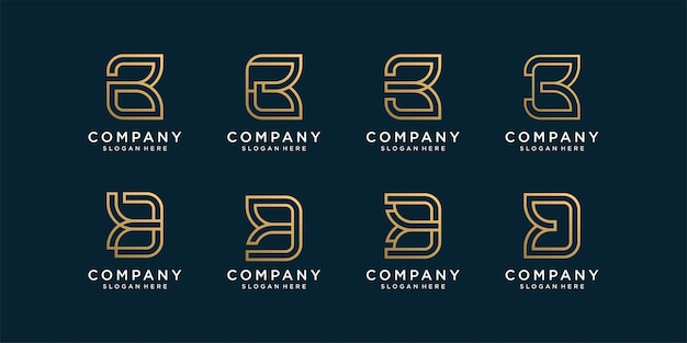 Set of letter logo collection with golden initial b