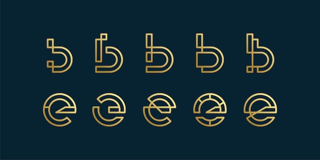 Set of letter logo collection with initial b and e minimalist line art style, company, brand
