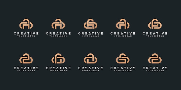 Set of letter logo collection with initial a for company with creative concept premium vector