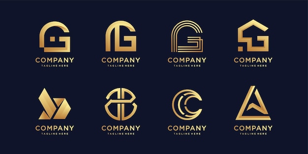 Set of letter logo collection with modern creative element premium vector
