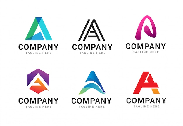 Set of letter a logo icons template elements
