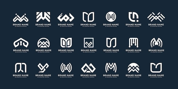 Set of letter logo m with creative abstract concept premium vector