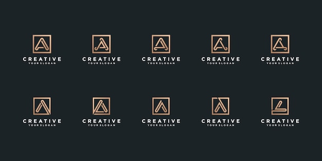 Set of letter a logo in square style premium vector