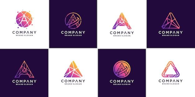 Set of letter a logo technology with creative abstract concept