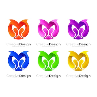 Set letter m logo with colorful design template