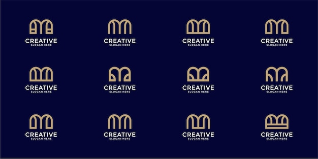 Set of letter m monogram logo design template