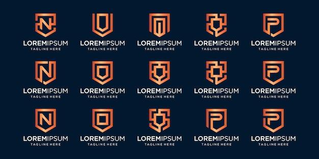 Set of letter n p v monogram and shield sign combination.