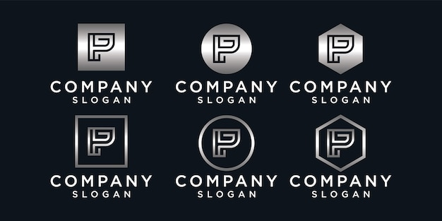 Set of letter p logo design collection, modern, gradient, abstract