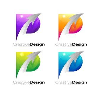 矢印デザインテンプレート、カラフルなスタイルで文字pロゴnを設定します