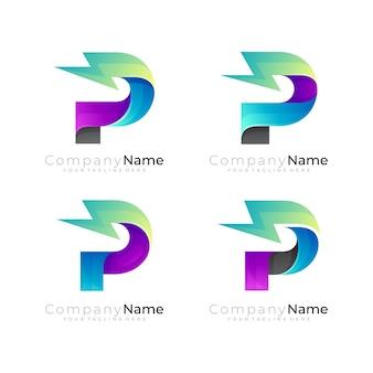 Set letter p logo and thunder design combination