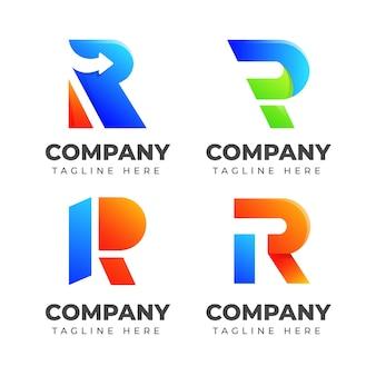 一套字母r标志设计模板与色彩缤纷的概念。适用于时尚、运动、汽车、优雅等行业