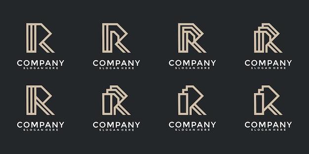 Set of letter r monogram logo design