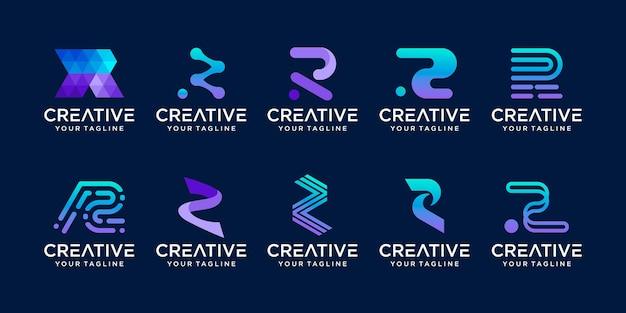 Set of letter r rr logo template Premium Vector