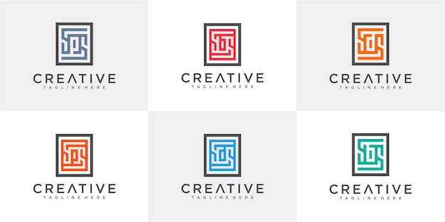 Set of letter sd, sb, sp in the rectangle logo design template