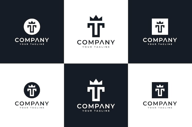 Set of letter t crown logo creative design for all uses