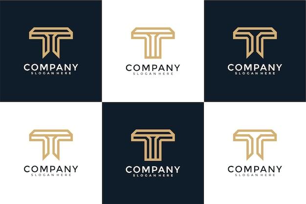 Set of letter t monogram logo design template