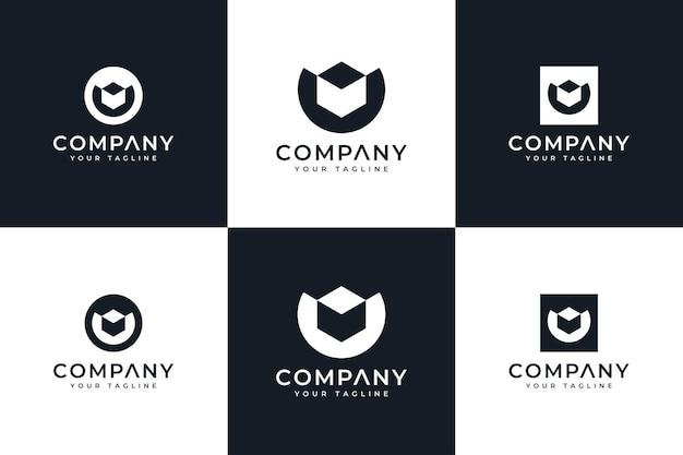 Set of letter u box logo creative design for all uses