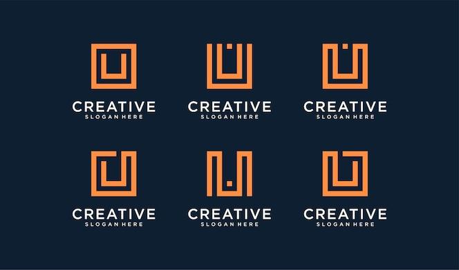 Set di logo della lettera u in stile cerchio