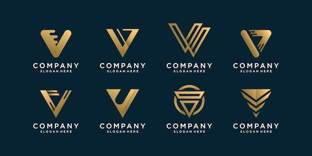 Set of letter v logo collection with golden concept