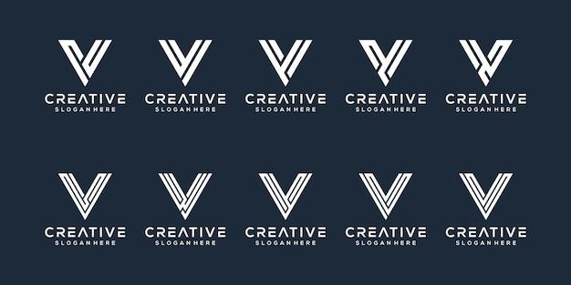 Set of letter v logo design