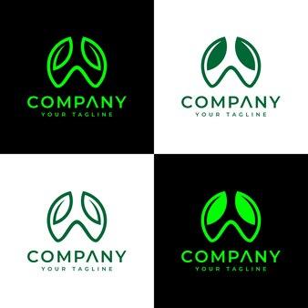 Set of letter w leaf logo creative design for all uses