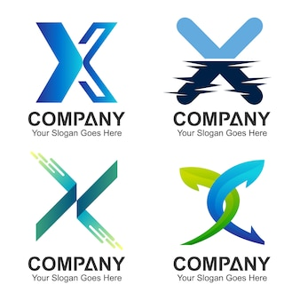 Set of letter x logo concept
