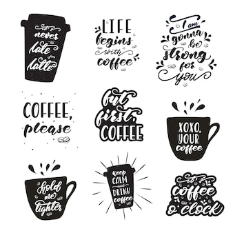 Set of lettering designs