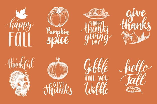 Set of lettering and illustrations for thanksgiving day. vector drawn and handwritten labels of gobble till you wobble, happy fall etc.