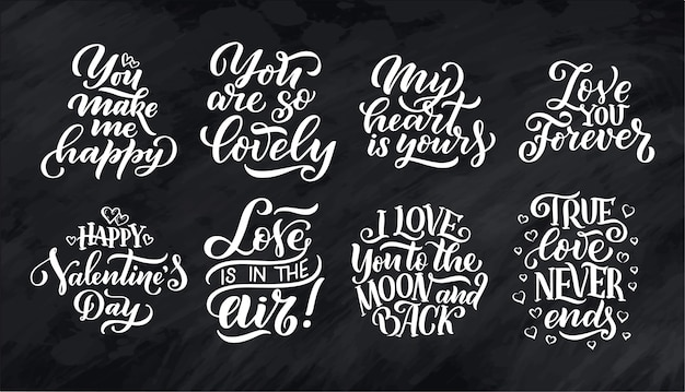 Set of lettering quotes about love