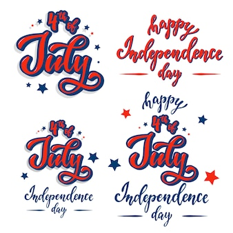 Set of lettering quotes for independence day