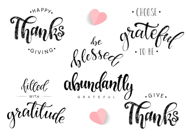Set of lettering quotes for thanksgiving day