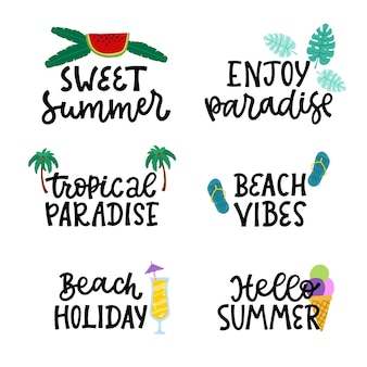 Set of lettering summer badges