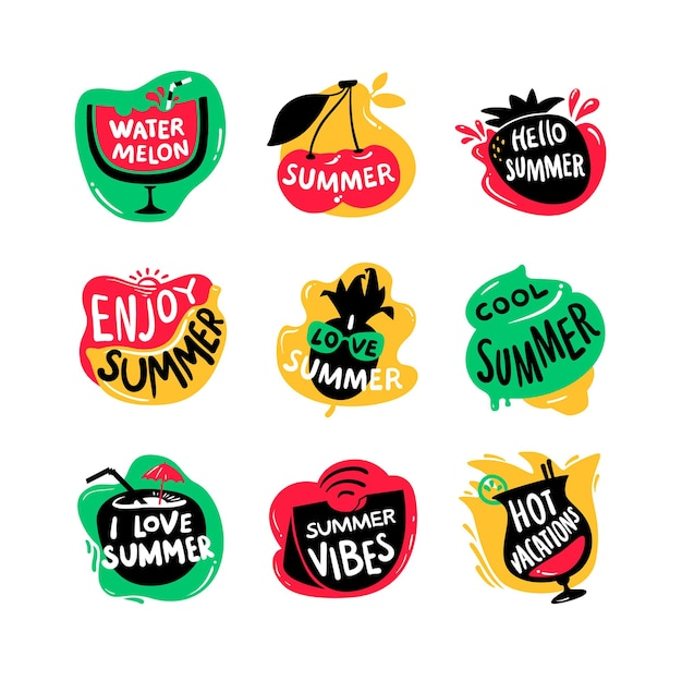 Set of lettering with hello summer, watermelon and hot vacations typography isolated on white