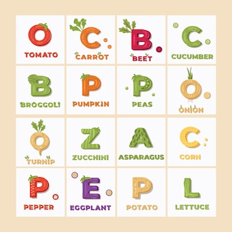 Set of lettering with vegetable items