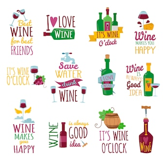 Set of lettering with wine theme. i love wine
