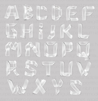 Set of letters of the alphabet of adhesive transparent tape.